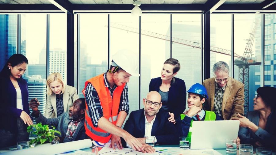 49129421 - architect engineer meeting people brainstorming concept